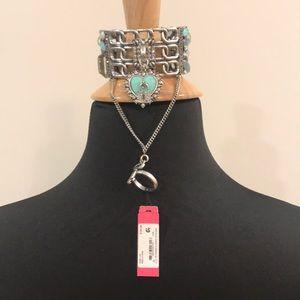 Betsey Johnson lock and key heart ringed cuff
